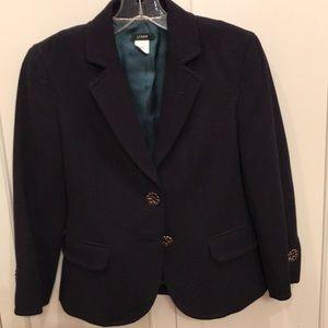 JCrew cropped navy wool blazer w/ flower buttons